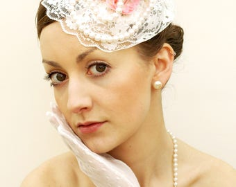 "Vintage style quirky unique pink and ivory fascinator ""Candy Doll"""