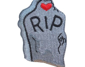 ID 0842 RIP Headstone Patch Cemetery Grave Heart Embroidered Iron On Applique