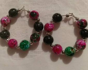 Pink/Green/Black 8mm Bead Hoop Earrings