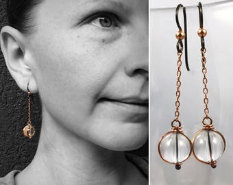 Copper Quartz Orb Earrings - Pure Solid Copper - Round Quartz Crystals - Hypoallergenic Hooks - Pools Of Light