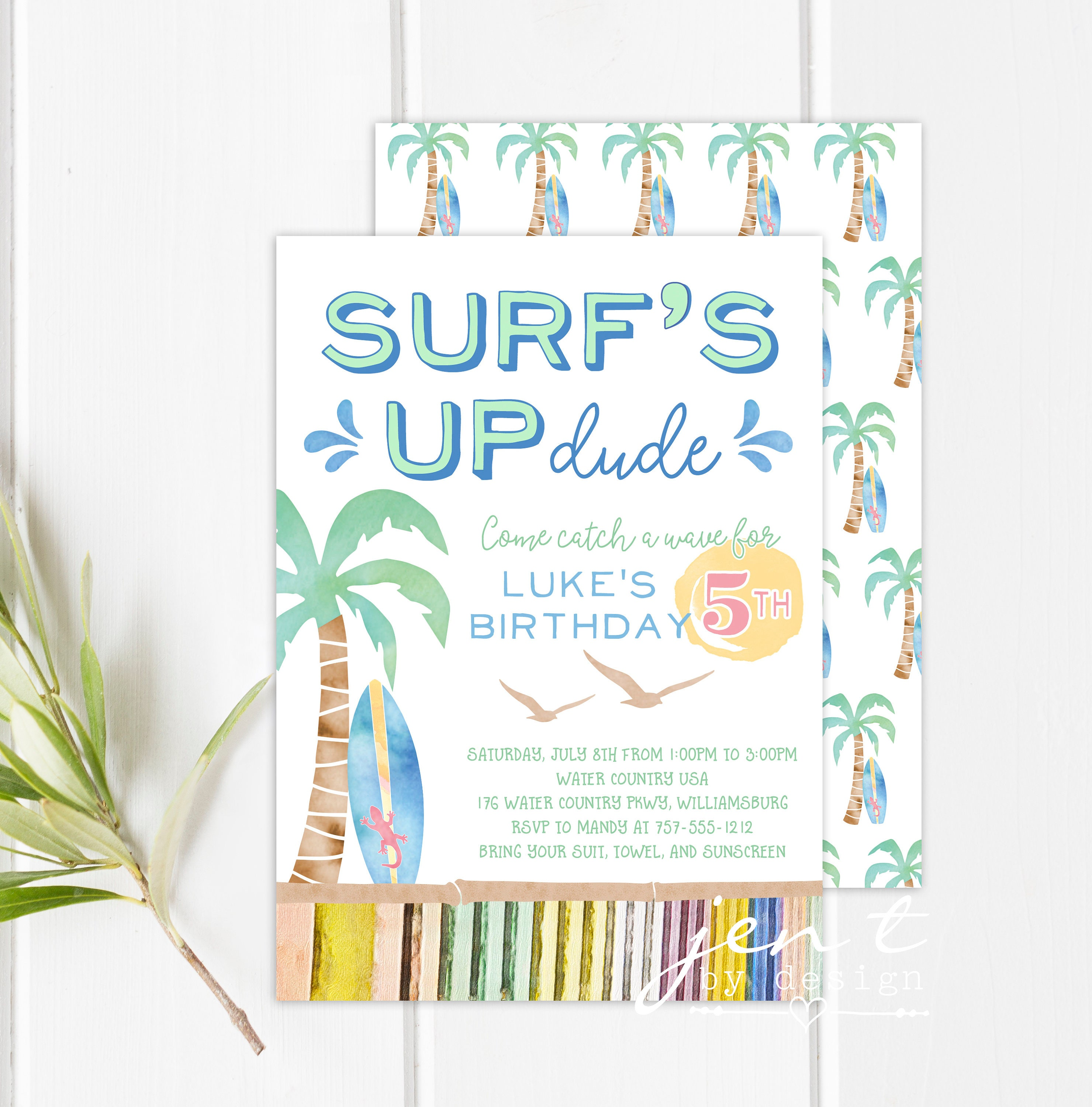 Surf Party Invitations Surf\'s Up Invitations Surfing