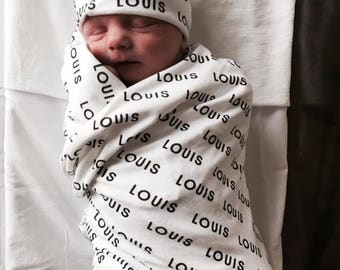 Personalized Swaddle and Hat Set Choose Any Color. Hospital Hat. Organic Swaddle. Baby Hat. Newborn Hat. Baby Shower Gift. Name Reveal.