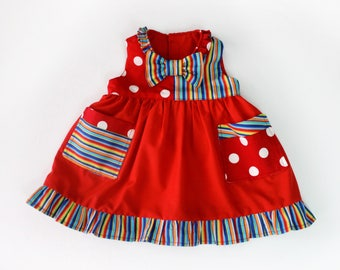 Baby Girl Clown Costume Cute Circus Dress Handmade Unique Sz 1 - Ready to Ship