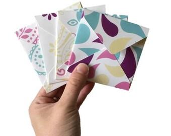 Set of 4 // Mini Square Envelopes // Paisley Stationery // Paisley Envelopes // Pastel Stationery // Mini Envelopes // Square Envelopes