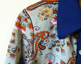 Blue Rose Paisley Vintage Jacket / 70s Retro Floral Blazer / Rad Floral House Coat