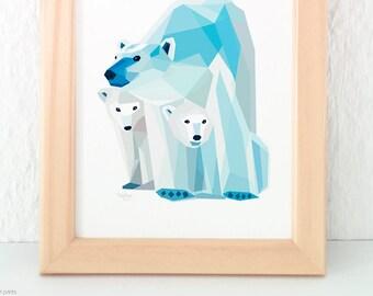 Polar bear print, Mother and child bear, Baby bear nursery art, Baby animal art, Children's room, Geometric polar bear, Two children, Twins