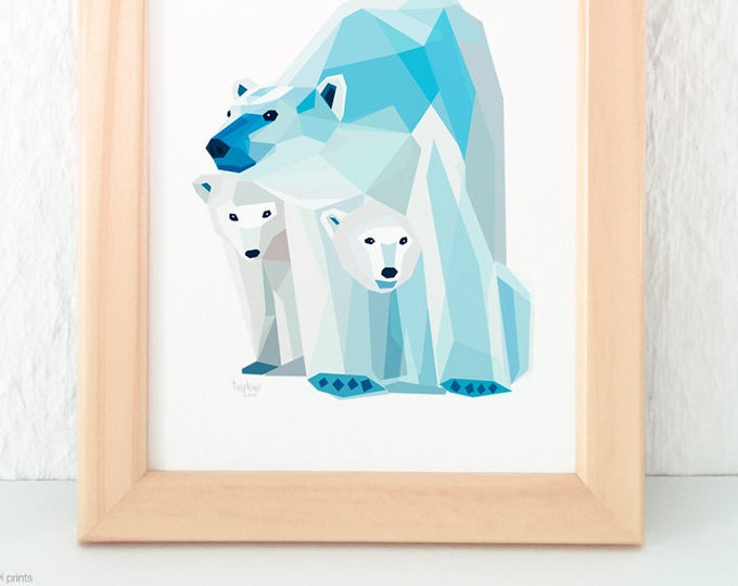 Polar bear print, Mother and child bear, Baby bear nursery art, Baby animal art, Children's room, Geometric polar bear, Two children, Twins