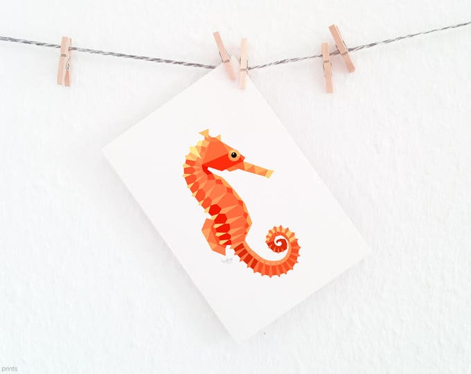 Seahorse illustration, Nursery illustrations, Sea creatures decor, At the seaside, Beach art, Seahorse print, Orange geometric, Ocean theme
