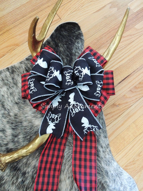 Holidays Red Black Deer Head Bow Buffalo Check Bow Cabin deer Head Country Plaid Bow Red Black Tartan Bow Country Holidays Deer head Bow