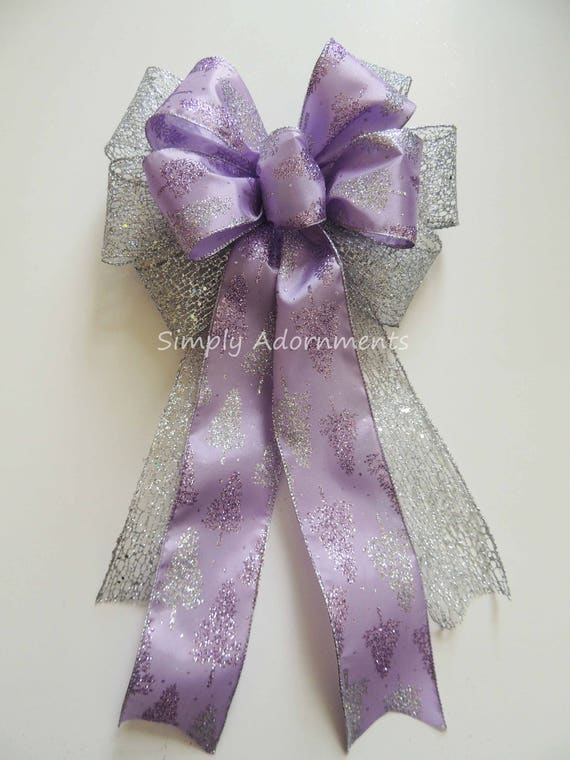 Purple Silver Christmas Wreath Bow Lavender Silver ...