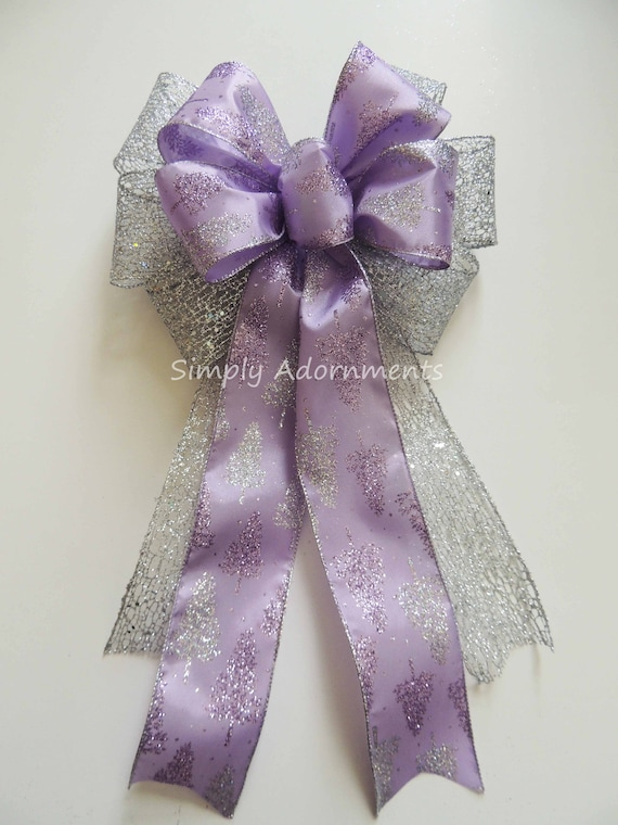 Purple Silver Christmas Wreath Bow Lavender Silver Christmas Tree Topper Bow Purple Lavender Christmas Swag Door Winter Wedding Pew Bow