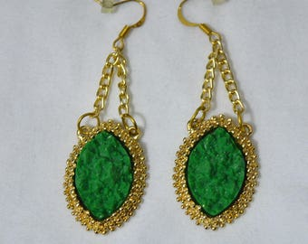 Dangling Gold Tone Earrings with Faux Green Gemstones