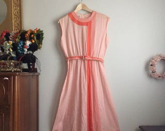 1970s/1980s Pink Striped Dress / Pink Vintage Dress / Light Pink Summer Dress