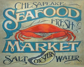 Seafood Market Print, Chesapeake Crabs & Oysters