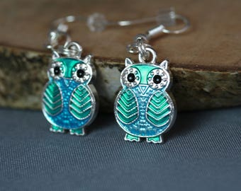 Earrings Owl turquoise, free shipping