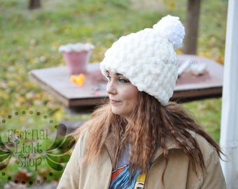 Thick Fuzzy Crochet Beanie One Size Teen/Adult