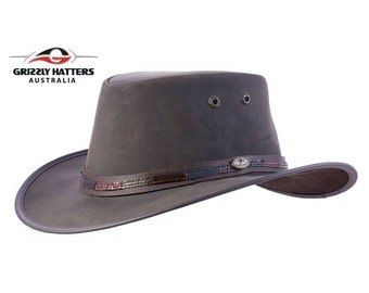 KANGAROO LEATHER HAT  - Original Ostrich Leather band - Australian Outback Squashy Bush Hat - Strong Soft Leather Hat - Great Birthday Gift