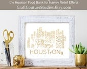 Houston Strong - Gold Foil Print, Gold Print, Illustration Art Print