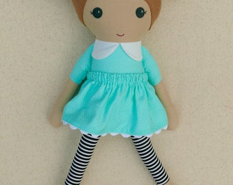 Fabric Doll Rag Doll Light Brown Haired Girl in Aqua Dotted Dress with Striped Leggings