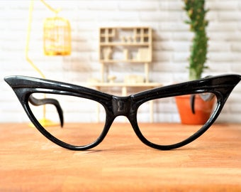 Vintage Cat Eye Frames 1990's Cateye glasses New Old Stock eyeglass Black High Winged Frames With great Temples Made In france