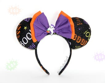 BOO Mouse Ears || Ghost Mouse Ears || Halloween Mouse Ears || Trick or Treat || by Born Tutu Rock
