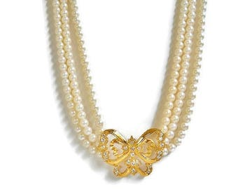 Triple Strand Pearl Bead Necklace Gold BUTTERFLY Pendant With Rhinestones Collar Length, Sparkling Vintage Rhinestone Butterfly Necklace
