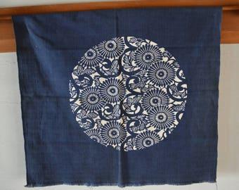 Zabuton cushion cover fabric, roundel of flowers, vintage Japanese aizome indigo textile, cotton #17A