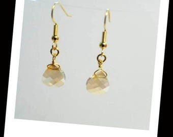 golden shadow Swarovski briolette crystal earrings hypoallergenic earrings nickel free earrings gold crystal earrings crystal dangle earring