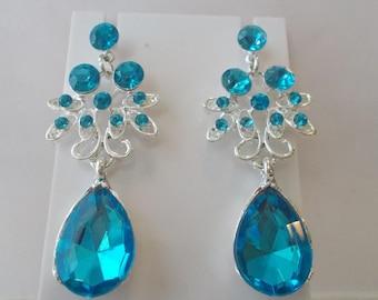 Post/Stud Silver Tone Dangle Earrings with Blue Rhinestones and a Blue Teardrop Dangle