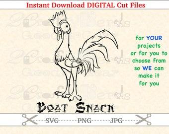 Make Your Own Moana Hei Hei Boat Snack PNG SVG JPG Cutting file Cutter Silhouette Cricut Stencil Design Project Iron Vinyl Hawaiian Maui
