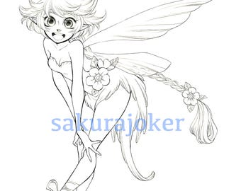 Manga Style Fairy Printable Coloring Page - PDF Instant Download