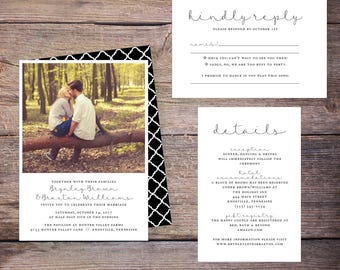 Classic Wedding Invitation Suite, Photo, Black and White, Modern, Invites, DiY Wedding, Print Yourself - Brynley