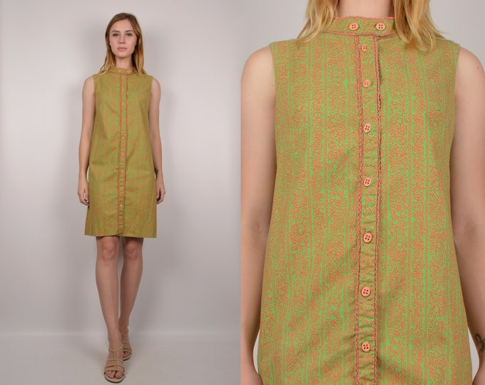 1960's Mod Chartreuse Sack Dress Vintage