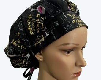Bouffant Surgical Scrub Hat - Wine Is Cheaper Than A Therapist Bouffant Scrub Hat - Wine Lovers Funny Ponytail Scrub hat - Custom Scrub Hat
