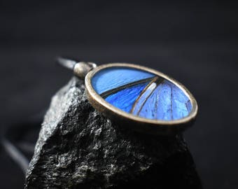 Butterfly Wing Pendant Sterling Silver Charm Blue Oval Necklace 925 Silver Light Blue Vintage Morpho