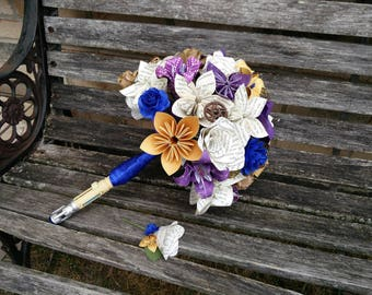 Dr. Who Bridal Bouquet, Sonic Screwdriver Handle. Your Choice Of Colors, Paper, Flower Styles, Etc.