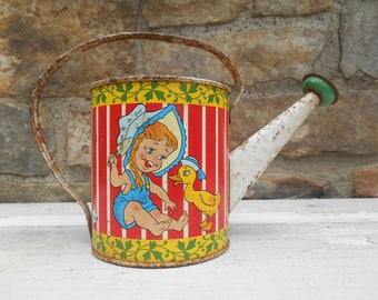 Vintage Ohio Art Childs Watering Can Toy Tin Litho Lithograph Sprinkling Can Garden Rustic Stripes Girl and Duck, Boy and Turtle