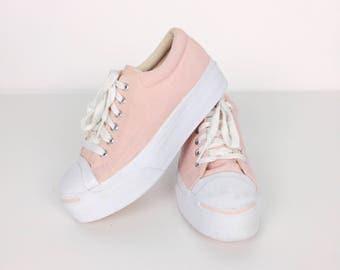 RARE Vintage Jack Purcell Pastel Rose Pink Canvas Mega Platform Lace Up Converse Sneakers Shoes // Women's size 6.5