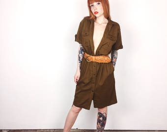 Lovely 80's Olive Green Military Style Safari Secretary Button Up Mini Dress // Women's size Small S