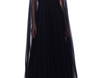 1970s Alfred Bosand Beaded Silk Chiffon Gown With Cape Size: S