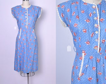 Vintage 1930s Dress Cotton 30s Day Dress