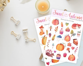 Stickers / Autumn Stickers, Fall Stickers / Sweet Autumn, Cute Autumn Food Stickers / Sticker Set / Erin Condren / Happy Planner Stickers
