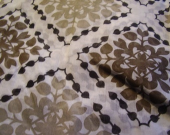 Vintage 1950's, 60's Sheer Taupes Voile? Fabric, 5 yards
