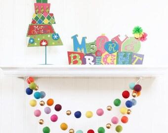 Felt Ball Garland with Gold Beads, Pom Pom Garland, Christmas Party Decor,  Multi Color & Gold, Winter Decor, Christmas Garland