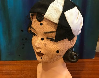 BLACK & WHITE 1950's 1960's Vintage 1950s 1960s Flocked Polka Dot Netting Netted Cocktail Party Hat w Velvet Underwire and Structured Crown