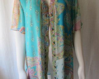 XL Silk Designer Diane Freis blouse button front Teal Paisley print Diane Freis