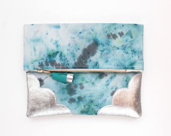 Dyed cotton clutch bag. Fold over clutch. Leather handbag.Statement purse. Hand colored.Silver natural leather.Turquoise handbag./DELIGHT 69