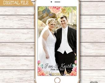 Wedding Snapchat GeoFilter,Floral Geofilter, Floral Filter, , Personalized Snapchat Filter, Gold Glitter Filter, Reception