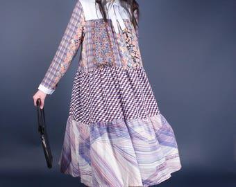 Fabulous Vintage Patchwork Baby Doll Goth Runway Designer Boho Maxi Dress