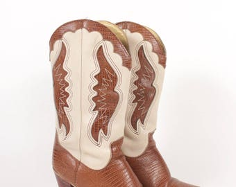 VINTAGE Zodiac Brown + Ivory Leather Cowgirl Boots sz 7 | Steel Toe Western Cowboy Boots w Heel